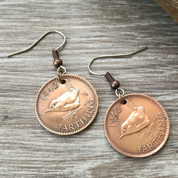 1941 or 1942 wren Farthing earrings British vintage pretty bird coin jewellery, 78th or 79th birthday gift, English present for woman