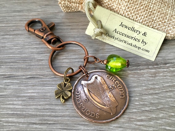 Irish penny keyring or clip, lucky purse charm, 1928, 1931, 1933, 1935 or 1937  choose coin year