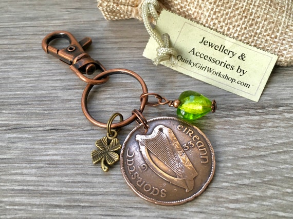 1933, 1935 or 1937 Irish penny keyring or clip, purse charm, 83rd, 85th or 87th Birthday gift for a woman