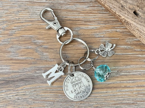1944 silver sixpence, 77th birthday gift, birthstone charm, keyring or bag clip, choose initial and birthstone colour