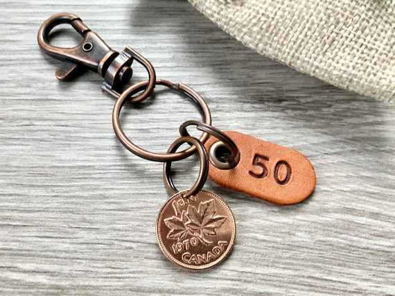 50th birthday gift, 1970 Canadian penny clip, canada lucky coin keyring, anniversary present for a man or woman