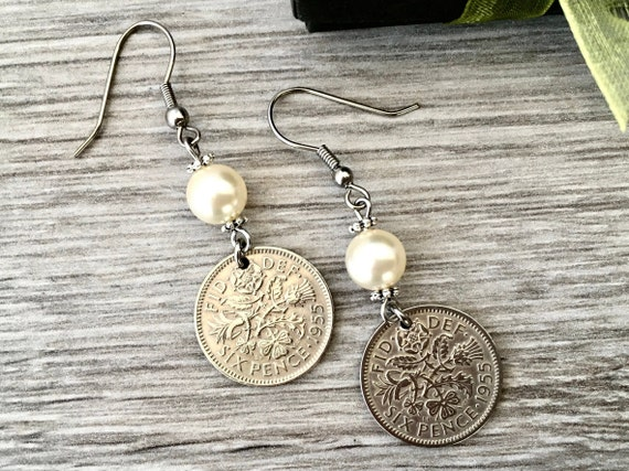 British sixpence earrings, English long coin earrings choose coin year 1955, 1956, 1957 or 1958,  for 61st, 62nd, 63rd or 64th birthday gift