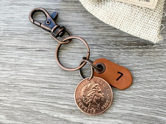 7th anniversary gift, wedding anniversary, married 2014 two pence coin keyring or clip, present for a man or woman