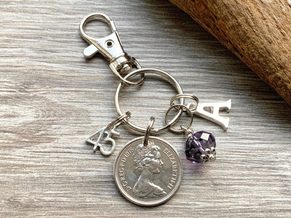 45th Birthstone Birthday gift, 1975 British coin keyring or bag clip, choice of initial and charm colour, 45th anniversary gift woman