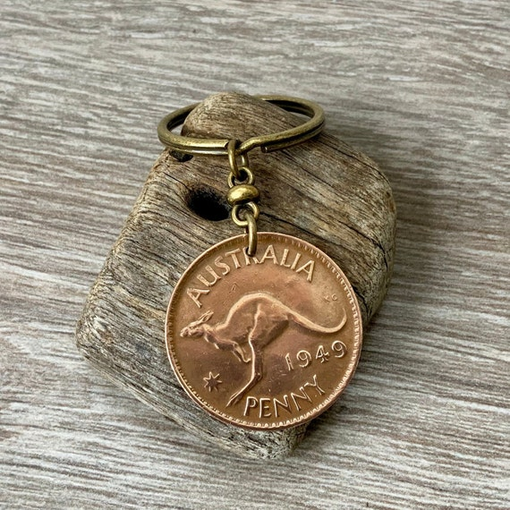 1949 or 1950 Australian penny keychain, kangaroo keyring, 70th or 71st birthday gift, Australia retirement, Aussie present for him, man, dad