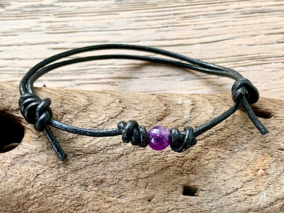 Single amethyst bead knotted bracelet, simple adjustable jewellery for men or women, handmade with a leather cord