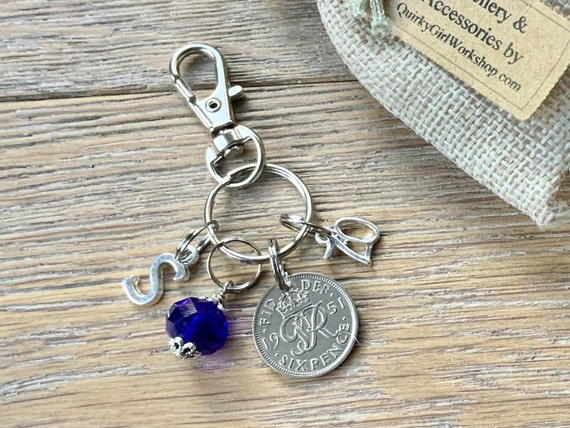 70th birthday gift, 1951 sixpence charm or bag clip, choose initial and birthstone colour,