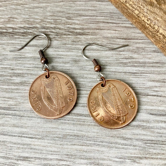 Irish penny earrings, choose coin year,  Ireland harp coin jewellery, birthday gift or anniversary present for a woman