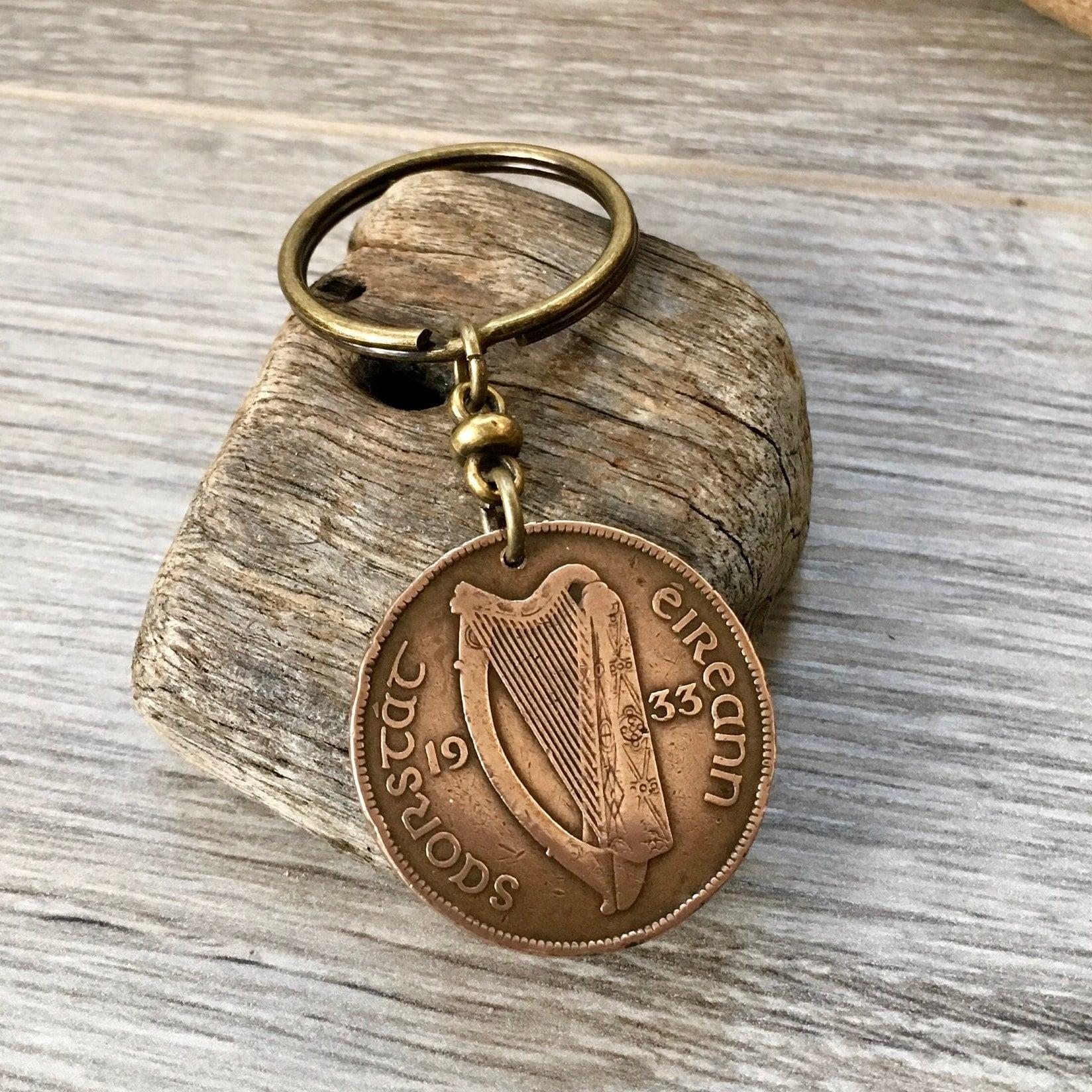 Birthday Gift Coin Keychain Gift Ready Comes in Gift bag Handbag Charm 1935 Irish Penny Coin Keyring