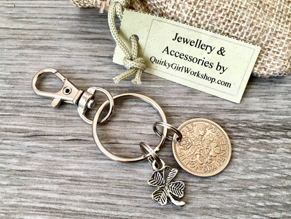 Lucky sixpence keyring, British coin clip, choose coin year for a perfect birthday, anniversary, retirement or good luck gift