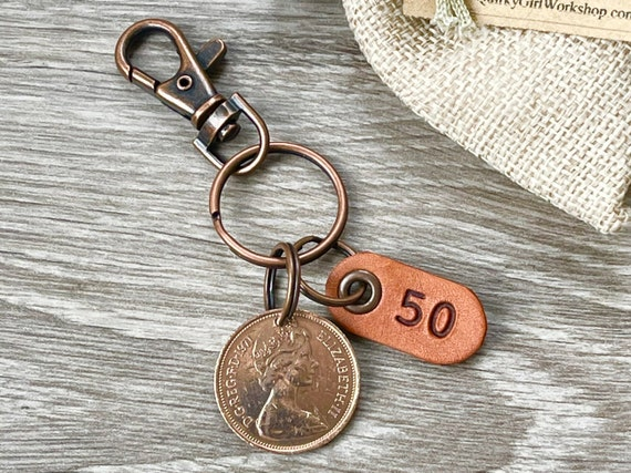 50th birthday gift, 1971 British two new pence coin keychain, keyring or clip, 50th anniversary present