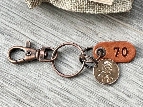 70th birthday gift, 1951 USA coin keychain, American one cent keyring, lucky penny clip, present for a man or woman