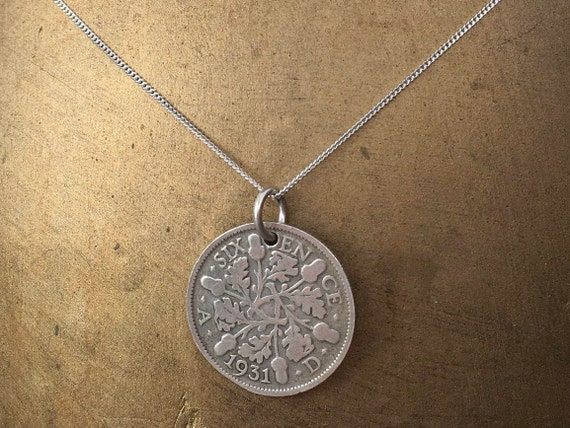 1930 or 1931 silver sixpence necklace, sterling silver chain British lucky coin 89th or 90th birthday gift, present for a woman