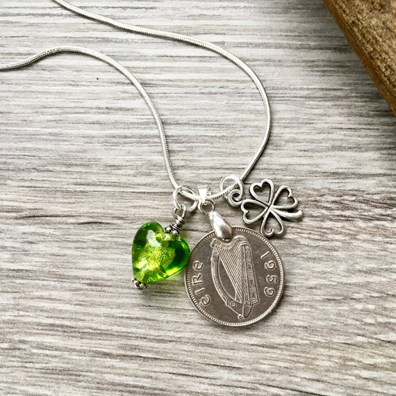 1959 or 1960 Irish sixpence necklace, Wolfhound harp coin, Ireland 60th birthday present for a woman
