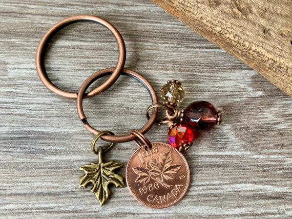 Canada penny charm, maple leaf key chain, Canadian coin bag clip, choose coin year for a perfect birthday or anniversary gift