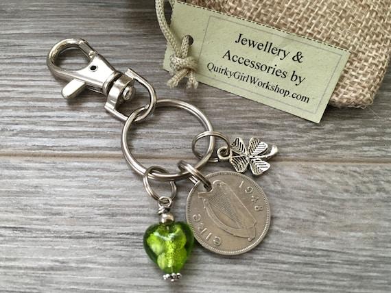 Irish sixpence keying, harp keychain, Purse clip, Ireland bag charm, Irish wolfhound, birthday present her, woman, mum