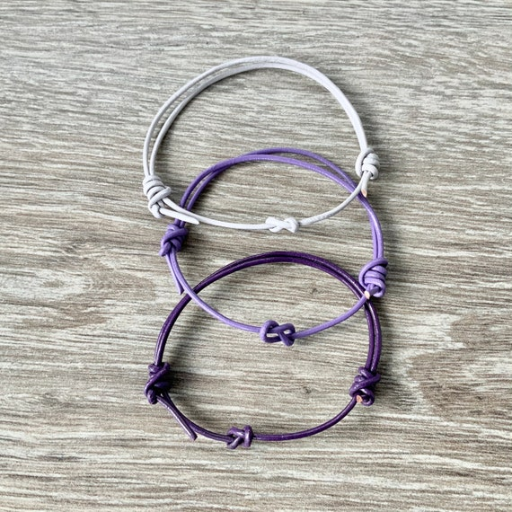 Leather infinity knot bracelet, choose between purple, mauve or lilac grey, simple adjustable jewellery