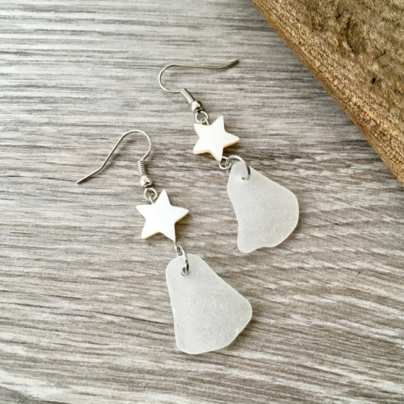 Sea glass earrings, English beach glass, shell star, stainless steel ear wires, long dangle, white, beach wedding, bridesmaids