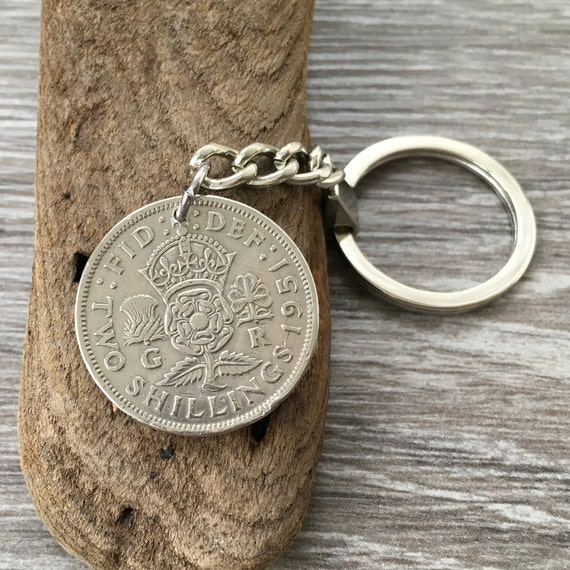 70th or 71st birthday gift 1950 or 1951 coin keychain, Two shilling keyring British florin, retirement or anniversary present