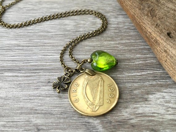 Irish necklace, green glass heart, long 1994 ireland coin pendant, 25th birthday anniversary gift for her woman, wife, shamrock jewellery