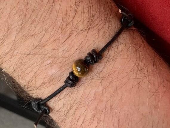 Tigers eye knotted bracelet, hand made leather adjustable gemstone bracelet