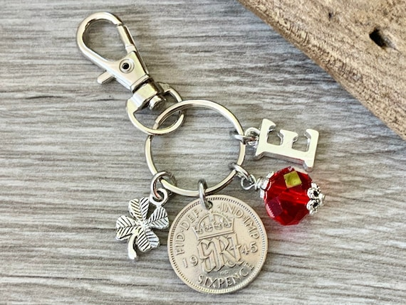 1945 silver sixpence, 75th birthday gift, birthstone charm, keyring or bag clip, choose initial and birthstone colour