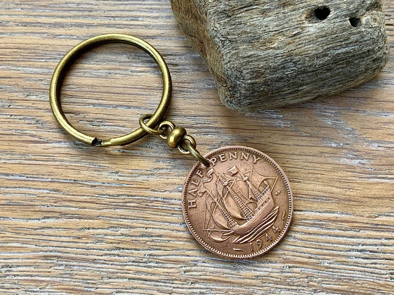 1943 UK Farthing Coin Keyring Birthday Anniversary