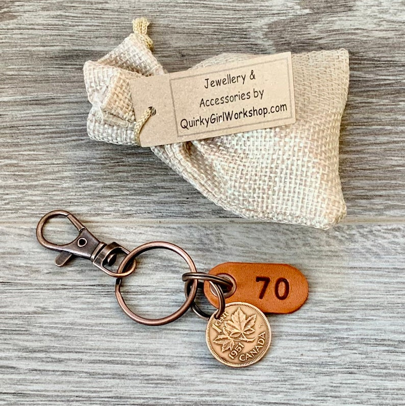 lucky maple leaf penny clip Canada one cent keyring 1951 Canadian penny keychain 70th birthday gift