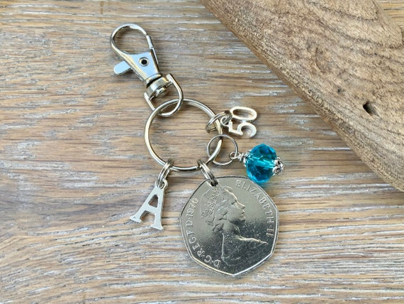 1970 British 50 pence coin Keyring clip, 50th birthday gift, birthstone and initial present, UK anniversary,  for woman