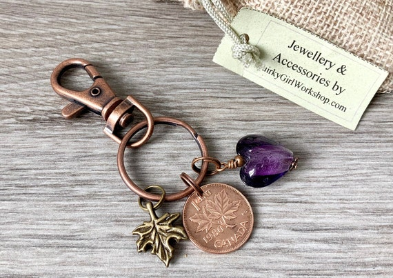 Canada coin key ring, 1970 - 1980 choose penny year, maple leaf key chain, Canadian one cent bag clip, purse charm,
