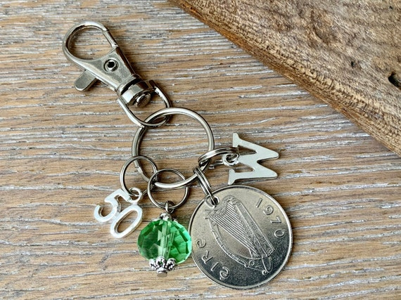 Irish Birthstone charm clip, 1970 coin keyring or bag clip, choice of initial and birthstone colour, 50th birthday gift woman
