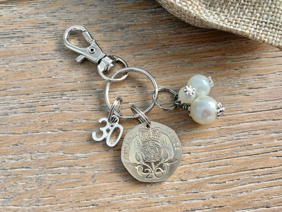 30th anniversary or birthday gift, pearl anniversary, 1991 British coin keyring, keychain, or clip