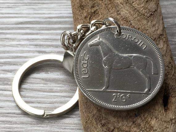 60th birthday gift, 1959 Irish keychain, Irish hunter horse coin keyring, retirement, anniversary gift, Ireland lucky coin
