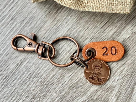 20th birthday or anniversary gift, 2001 USA coin keychain, American one cent keyring, lucky penny clip, present for a man or woman