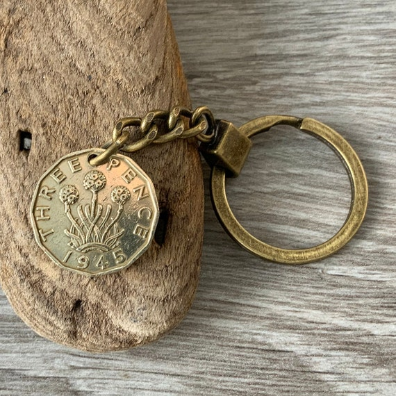 1943, 1944 or 1945 coin keychain, keyring, British 3d coin clip, UK threppence, thruppence, 75th, 76th or 77th birthday gift