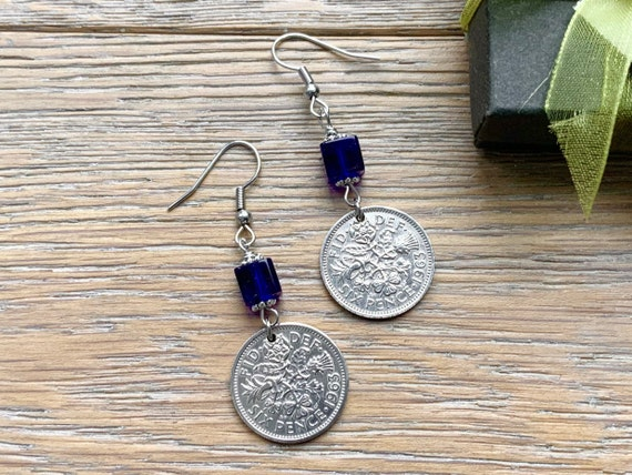Lucky Sixpence long earrings, 1961, 1962, 1963 or 1964 choose year, cobalt blue jewellery, birthday gift for a woman, long earrings