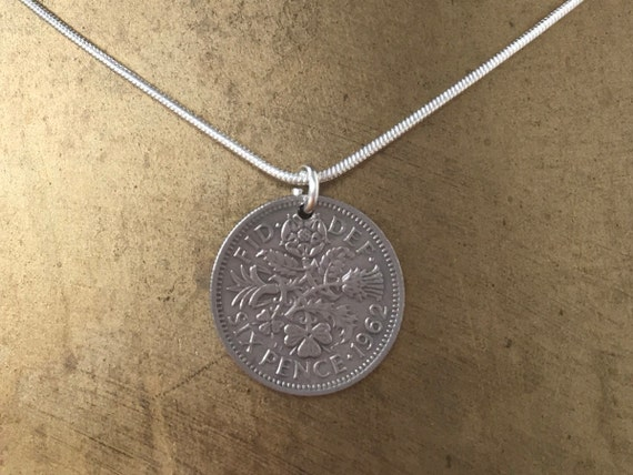 Lucky Sixpence necklace, 57th or 58th birthday gift 1961 or 1962 British coin, English present for her woman mum sterling silver chain