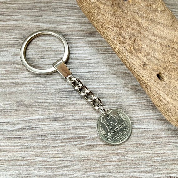 Soviet Union coin keyring, keychain Russia, Russian 15 kopek key fob, 30th birthday gift, anniversary present man or woman