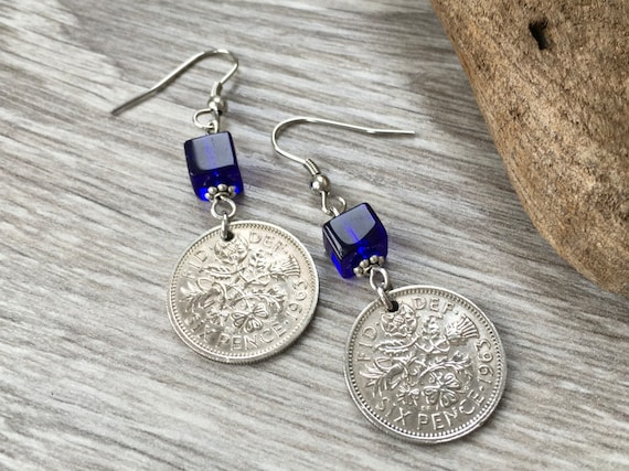 Lucky Sixpence earrings, 1961, 1962, 1963 or 1964 English coin, choose year, cobalt blue jewellery, birthday gift for a woman, long earrings
