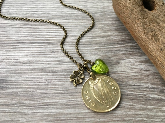 20th birthday gift, 1999 Irish long coin necklace, green glass heart pendant, shamrock jewelry, anniversary gift wife, girlfriend, woman