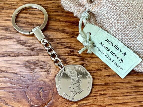 Peter Rabbit keyring clip, Beatrix Potter coin keychain, purse charm, handbag charm, souvenir, 2017 keepsake gift for her, woman, teen girl