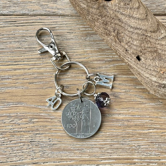 40th Italian Birthday gift, 1981 100 Lire coin keyring or bag clip, choice of initial and birthstone colour, 40th anniversary gift woman