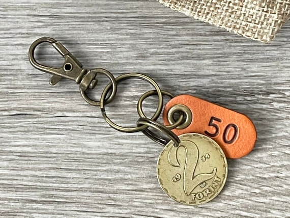 50th Hungarian birthday gift or anniversary present, 1971 Hungarian Two Forint coin keyring, keychain or clip