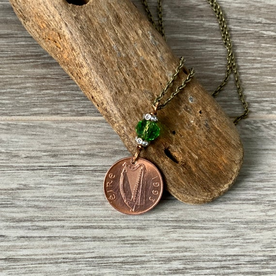 Irish penny necklace, 1992, 1993 or 1994 choose coin year, lucky irish keepsake present for a woman