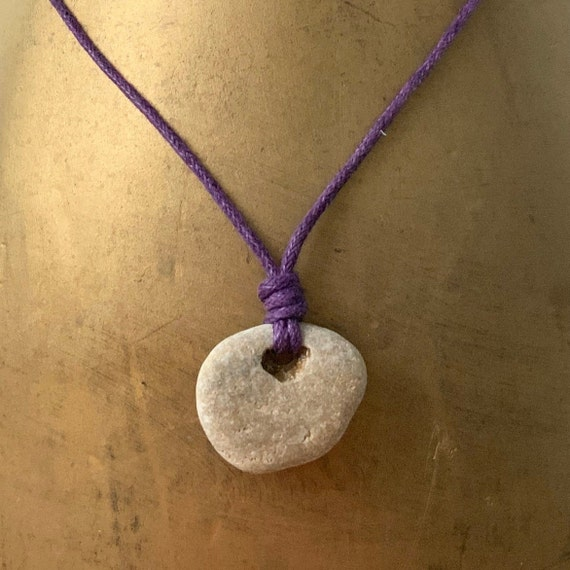Hag stone pendant, raw stone necklace, beach rock jewellery, knotted purple waxed cotton cord, adjustable length, mens pebble pendant