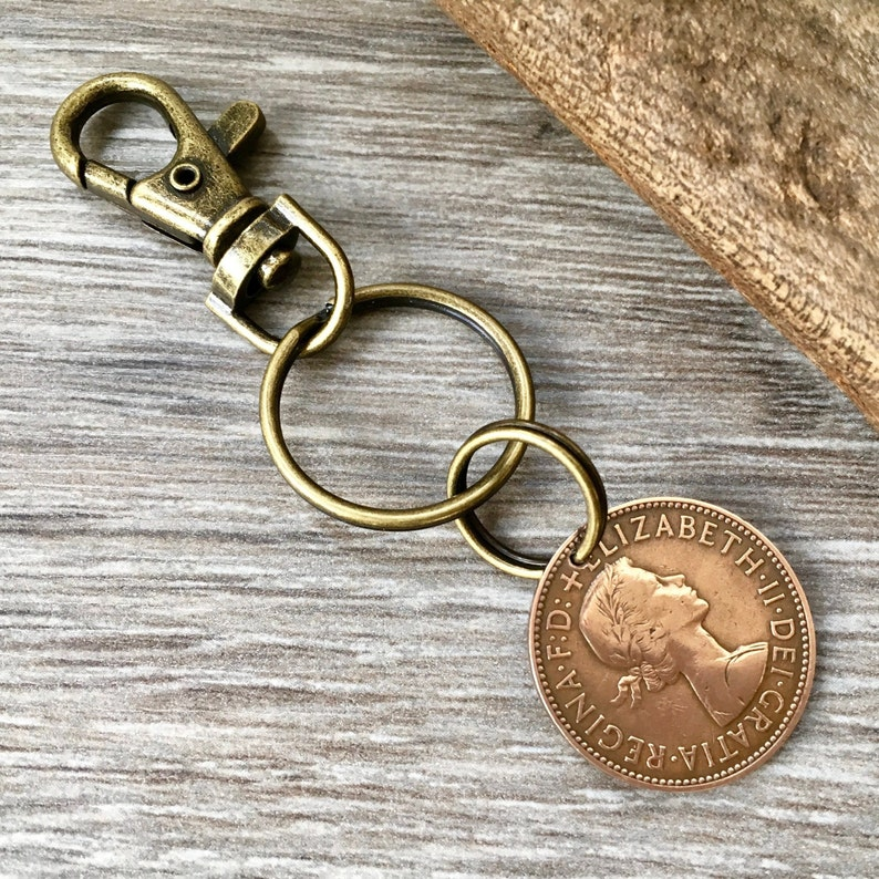 64th or 65th birthday or retirement gift English ship keyring 1956 or 1957 British half penny coin keychain