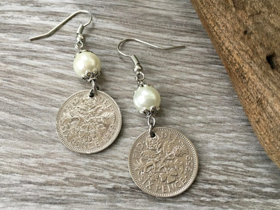 60th birthday gift 1959 British sixpence earrings, pretty English coin Jewelry, retirement present for her, woman, mum, aunt, friend, sister