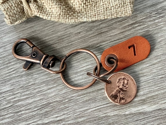 7th anniversary gift, USA copper wedding anniversary, 7 years married 2014 coin keyring United States penny clip key chain