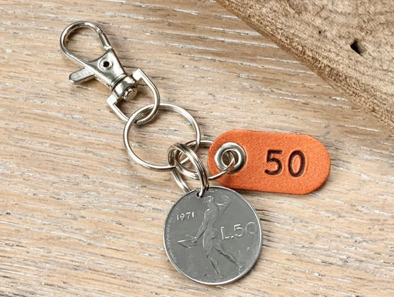 1971 Italian coin key ring, 50th birthday gift, Italy key chain, 50 Lire key fob, anniversary present for a man or woman