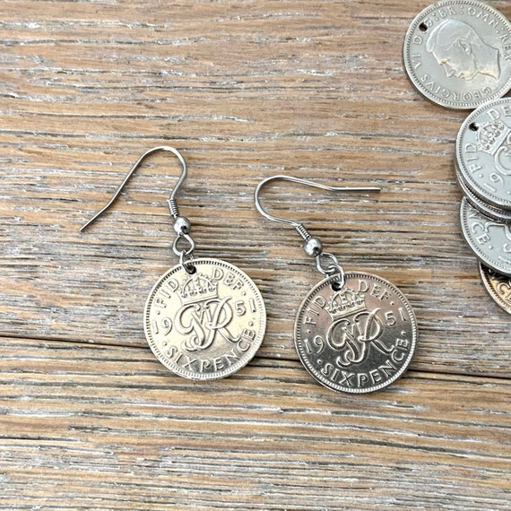 British sixpence earrings with stainless steel or Sterling silver ear wires, choose coin year for a perfect birthday gift